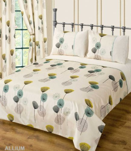 TEAL CREAM COLOUR BEDDING DUVET COVER SET STYLISH POPPY FLORAL MODERN DESIGN